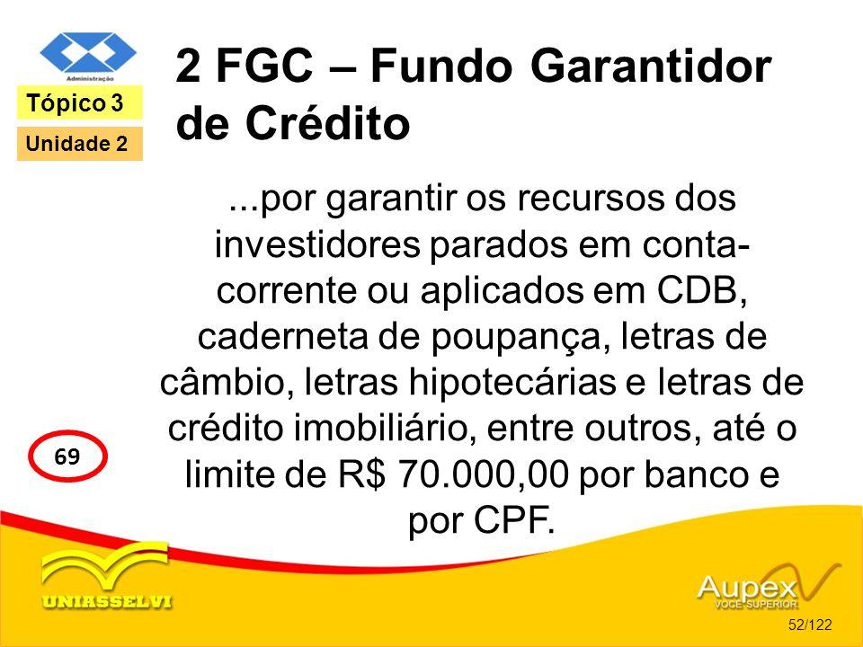 2 FGC – Fundo Garantidor de Crédito...por garantir os recursos dos investidores parados em conta- corrente ou aplicados em CDB, caderneta de poupança,
