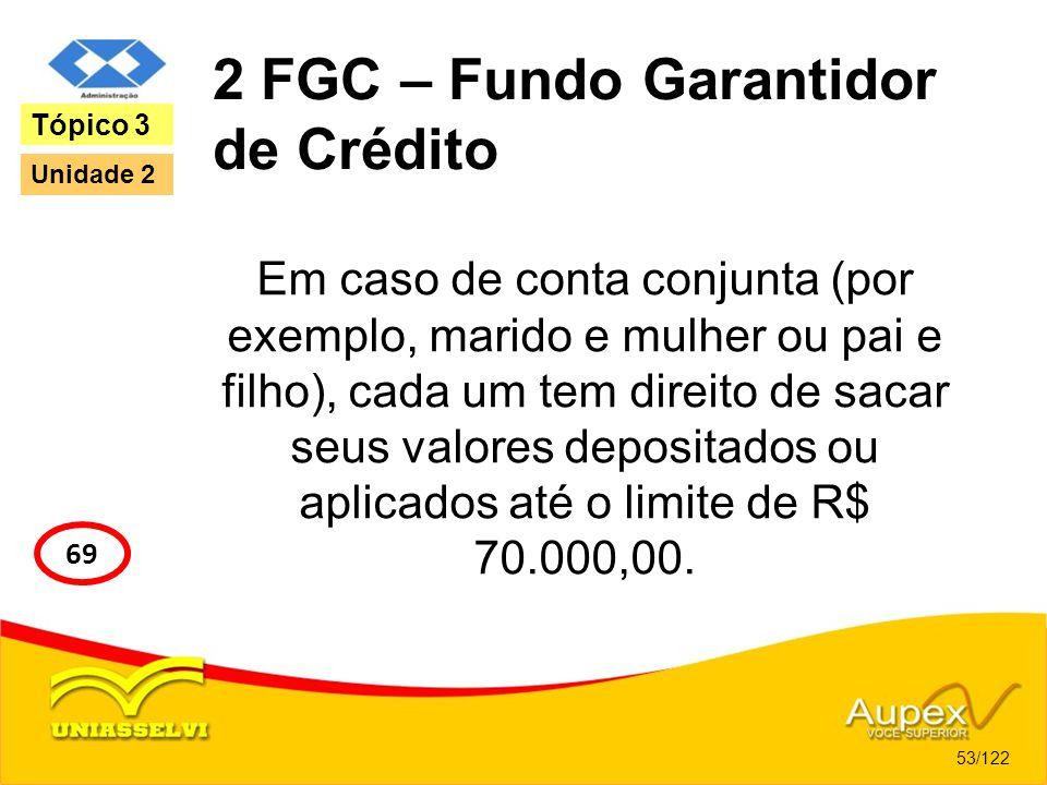 2 FGC – Fundo Garantidor de Crédito Em caso de conta conjunta (por exemplo, marido e mulher ou pai e filho), cada um tem direito de sacar seus valores