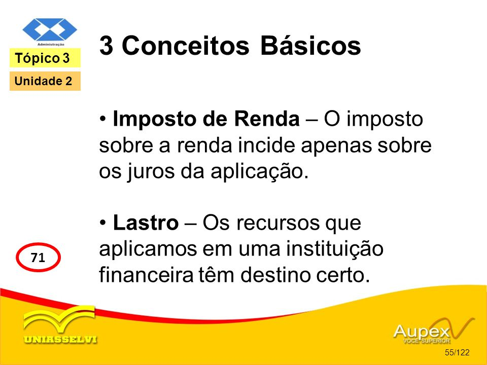 3 Conceitos Básicos Imposto de Renda – O imposto sobre a renda incide apenas sobre os juros da aplicação. Lastro – Os recursos que aplicamos em uma in