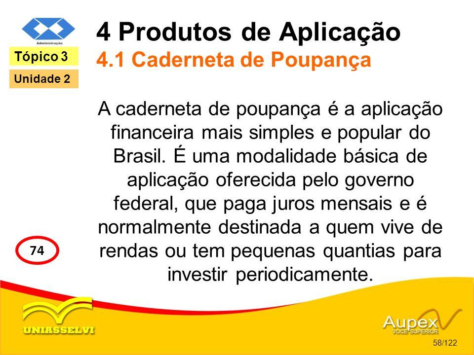 4 Produtos de Aplicação 4.1 Caderneta de Poupança A caderneta de poupança é a aplicação financeira mais simples e popular do Brasil. É uma modalidade