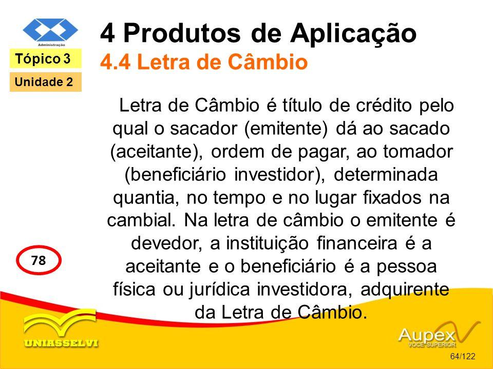 4 Produtos de Aplicação 4.4 Letra de Câmbio Letra de Câmbio é título de crédito pelo qual o sacador (emitente) dá ao sacado (aceitante), ordem de paga