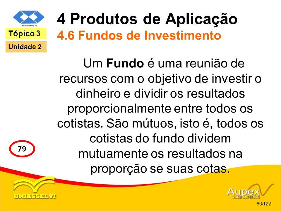 4 Produtos de Aplicação 4.6 Fundos de Investimento Um Fundo é uma reunião de recursos com o objetivo de investir o dinheiro e dividir os resultados pr