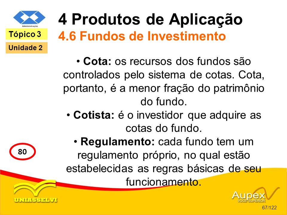 4 Produtos de Aplicação 4.6 Fundos de Investimento Cota: os recursos dos fundos são controlados pelo sistema de cotas. Cota, portanto, é a menor fraçã