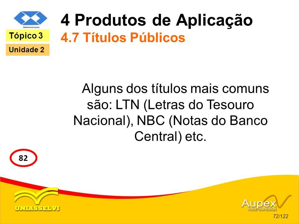 4 Produtos de Aplicação 4.7 Títulos Públicos Alguns dos títulos mais comuns são: LTN (Letras do Tesouro Nacional), NBC (Notas do Banco Central) etc. 7