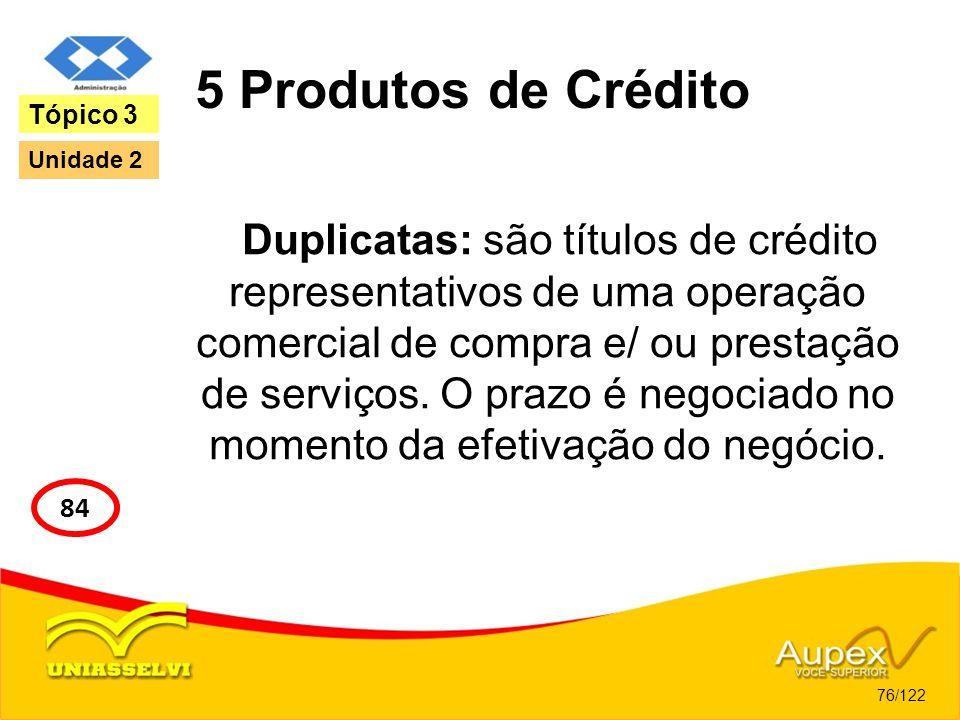 5 Produtos de Crédito Duplicatas: são títulos de crédito representativos de uma operação comercial de compra e/ ou prestação de serviços. O prazo é ne