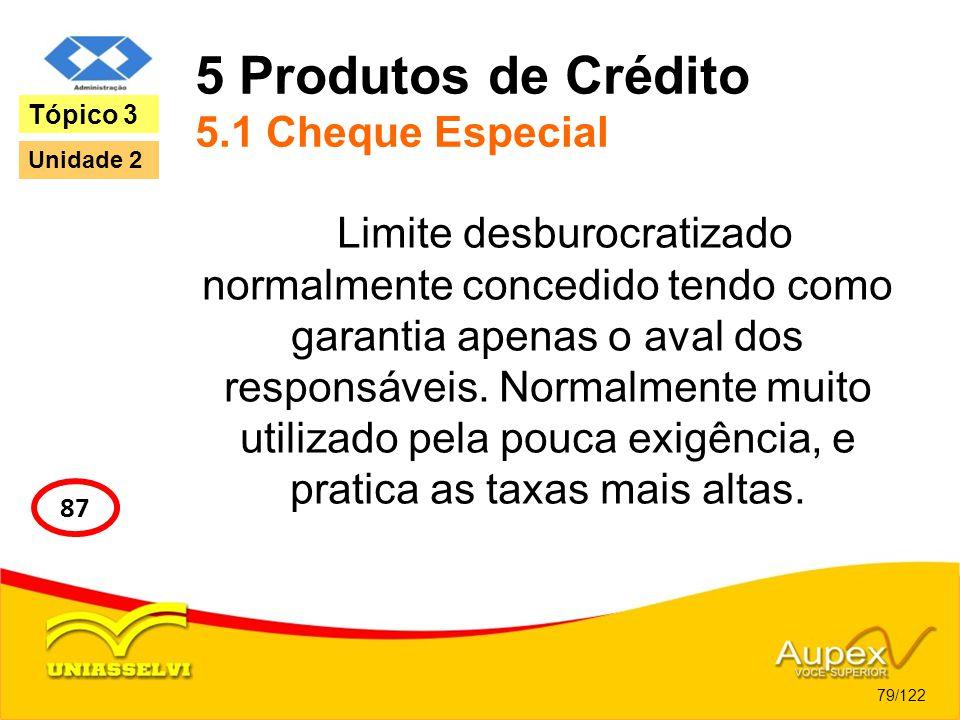 5 Produtos de Crédito 5.1 Cheque Especial Limite desburocratizado normalmente concedido tendo como garantia apenas o aval dos responsáveis. Normalment