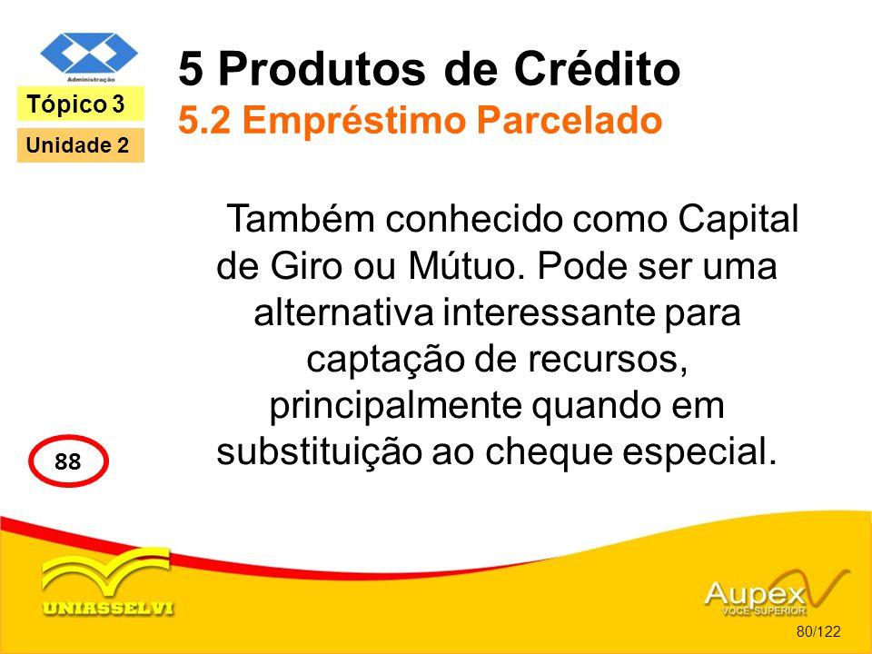 5 Produtos de Crédito 5.2 Empréstimo Parcelado Também conhecido como Capital de Giro ou Mútuo. Pode ser uma alternativa interessante para captação de
