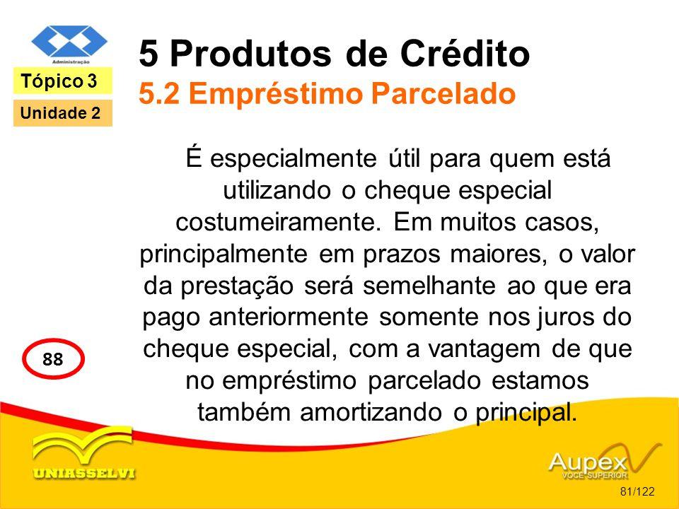 5 Produtos de Crédito 5.2 Empréstimo Parcelado É especialmente útil para quem está utilizando o cheque especial costumeiramente. Em muitos casos, prin