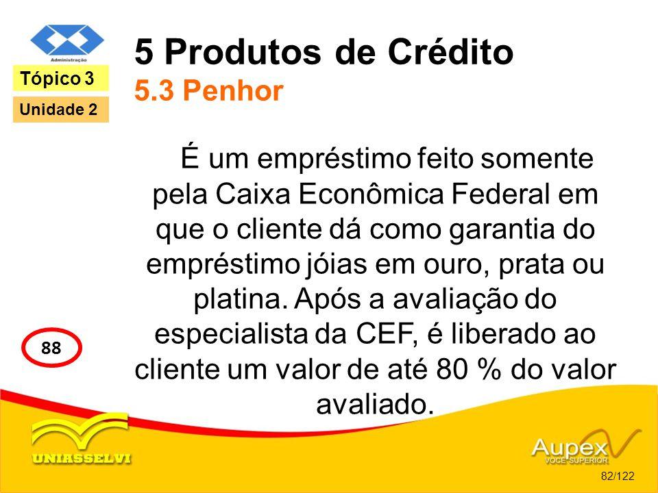 5 Produtos de Crédito 5.3 Penhor É um empréstimo feito somente pela Caixa Econômica Federal em que o cliente dá como garantia do empréstimo jóias em o