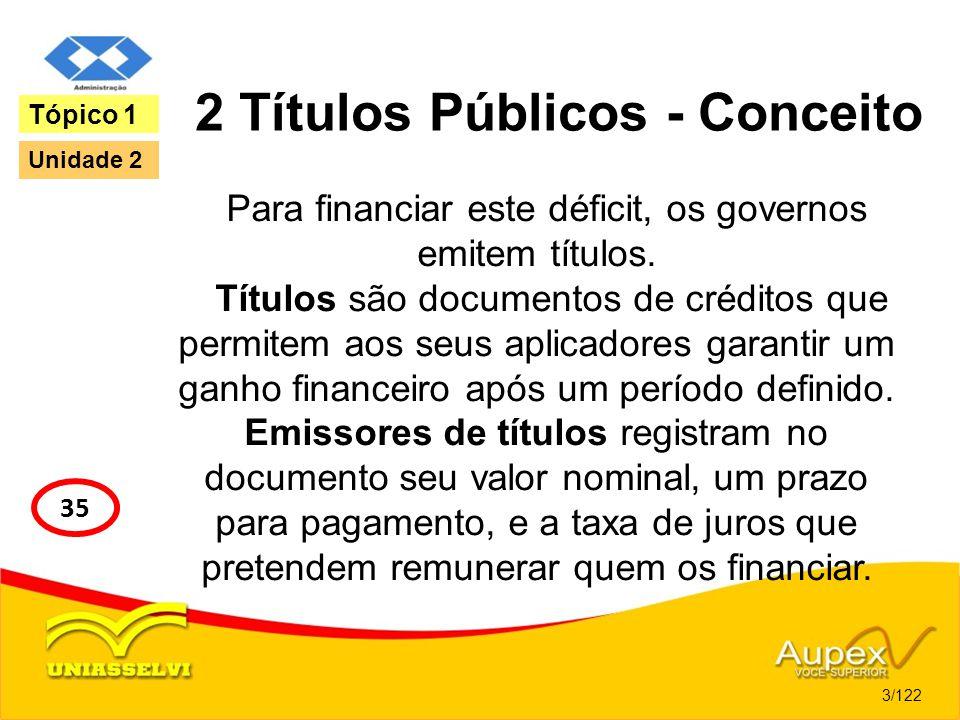 2 Títulos Públicos - Conceito Para financiar este déficit, os governos emitem títulos. Títulos são documentos de créditos que permitem aos seus aplica