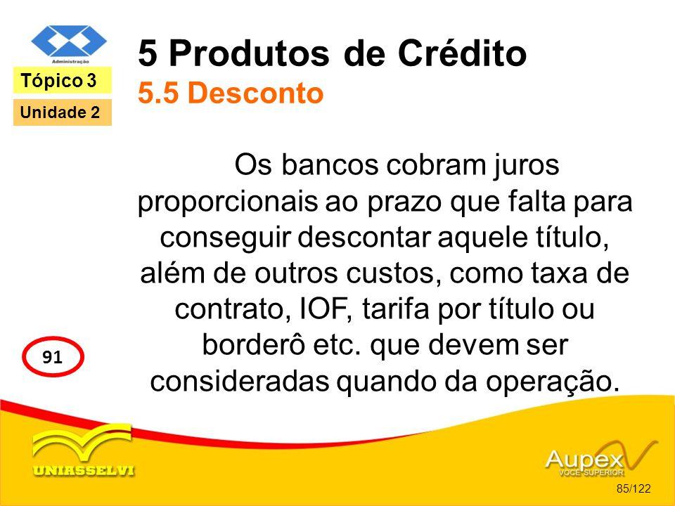 5 Produtos de Crédito 5.5 Desconto Os bancos cobram juros proporcionais ao prazo que falta para conseguir descontar aquele título, além de outros cust