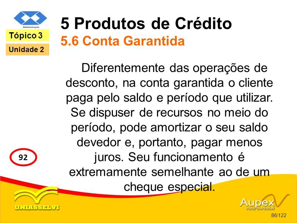 5 Produtos de Crédito 5.6 Conta Garantida Diferentemente das operações de desconto, na conta garantida o cliente paga pelo saldo e período que utiliza