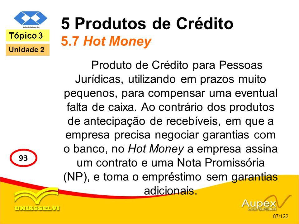 5 Produtos de Crédito 5.7 Hot Money Produto de Crédito para Pessoas Jurídicas, utilizando em prazos muito pequenos, para compensar uma eventual falta