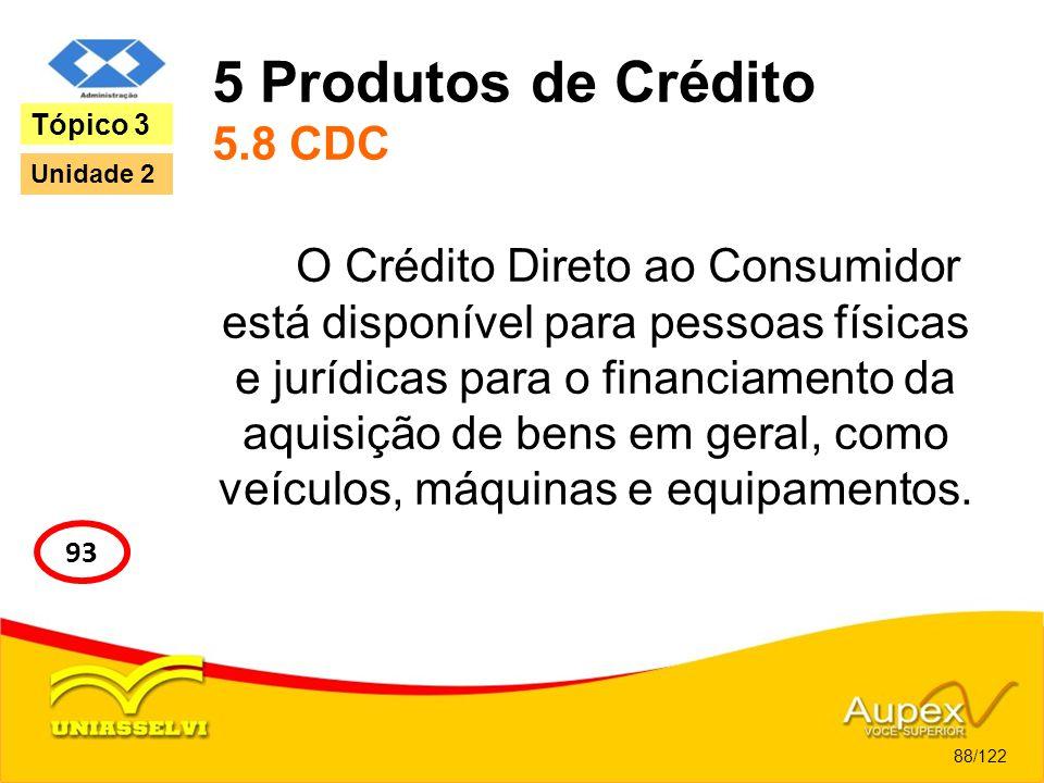 5 Produtos de Crédito 5.8 CDC O Crédito Direto ao Consumidor está disponível para pessoas físicas e jurídicas para o financiamento da aquisição de ben
