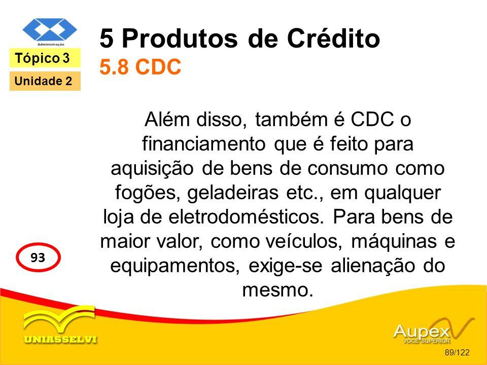 5 Produtos de Crédito 5.8 CDC Além disso, também é CDC o financiamento que é feito para aquisição de bens de consumo como fogões, geladeiras etc., em