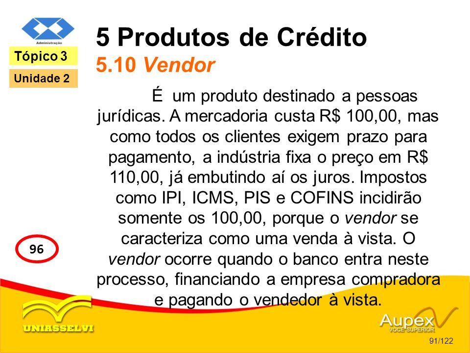 5 Produtos de Crédito 5.10 Vendor É um produto destinado a pessoas jurídicas. A mercadoria custa R$ 100,00, mas como todos os clientes exigem prazo pa