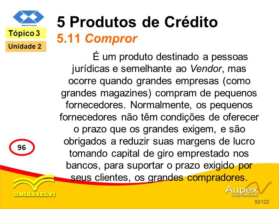 5 Produtos de Crédito 5.11 Compror É um produto destinado a pessoas jurídicas e semelhante ao Vendor, mas ocorre quando grandes empresas (como grandes