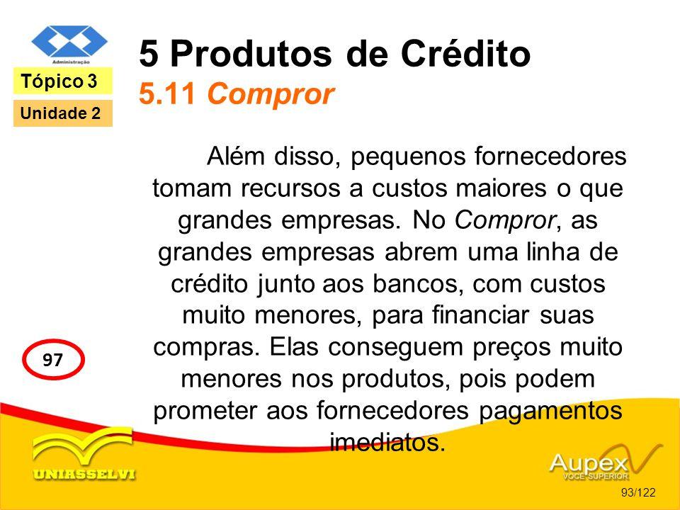 5 Produtos de Crédito 5.11 Compror Além disso, pequenos fornecedores tomam recursos a custos maiores o que grandes empresas. No Compror, as grandes em