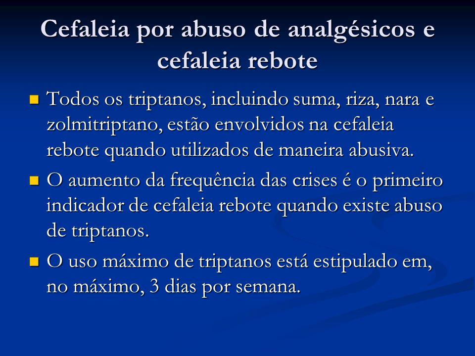 Cefaleia por abuso de analgésicos e cefaleia rebote Todos os triptanos, incluindo suma, riza, nara e zolmitriptano, estão envolvidos na cefaleia rebote quando utilizados de maneira abusiva.