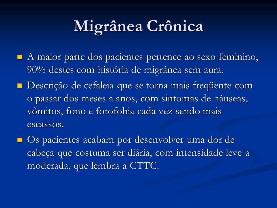 Migrânea Crônica A maior parte dos pacientes pertence ao sexo feminino, 90% destes com história de migrânea sem aura. A maior parte dos pacientes pert