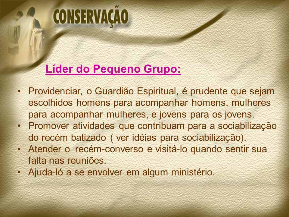 Líder do Pequeno Grupo: Providenciar, o Guardião Espiritual, é prudente que sejam escolhidos homens para acompanhar homens, mulheres para acompanhar mulheres, e jovens para os jovens.