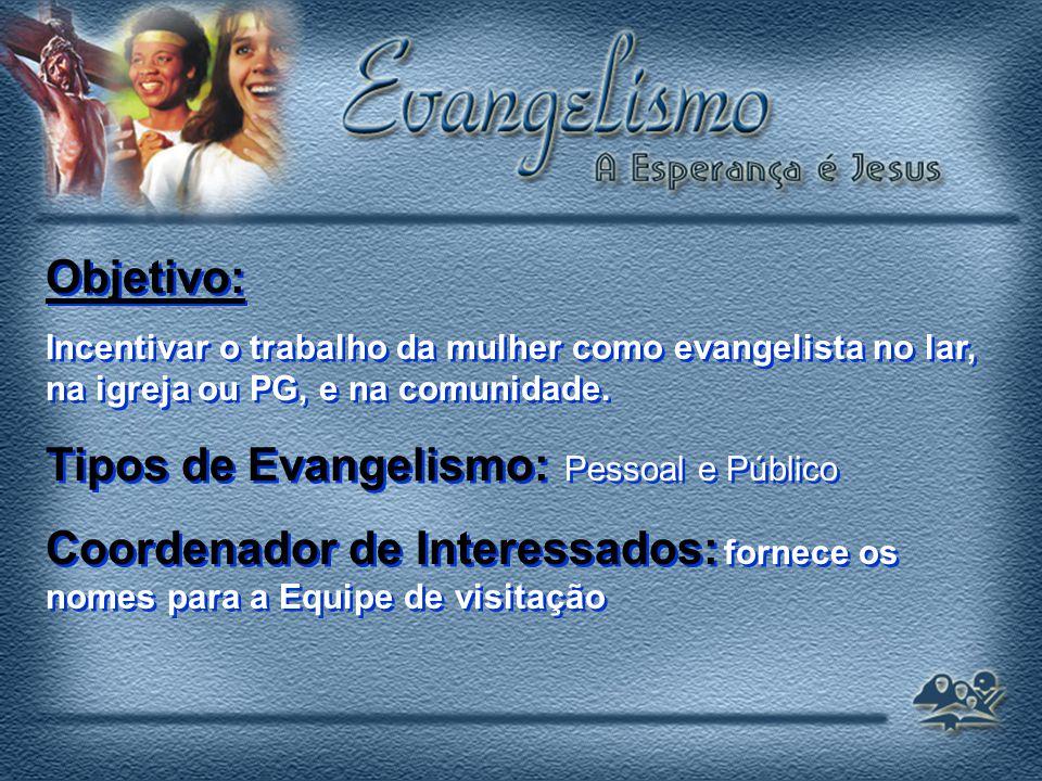 Objetivo: Incentivar o trabalho da mulher como evangelista no lar, na igreja ou PG, e na comunidade.