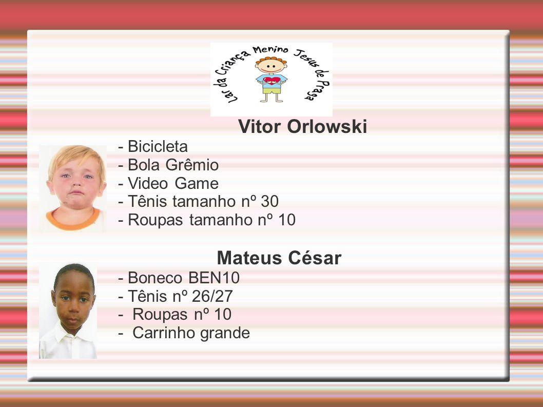 Vitor Orlowski - Bicicleta - Bola Grêmio - Video Game - Tênis tamanho nº 30 - Roupas tamanho nº 10 Mateus César - Boneco BEN10 - Tênis nº 26/27 - Roupas nº 10 - Carrinho grande