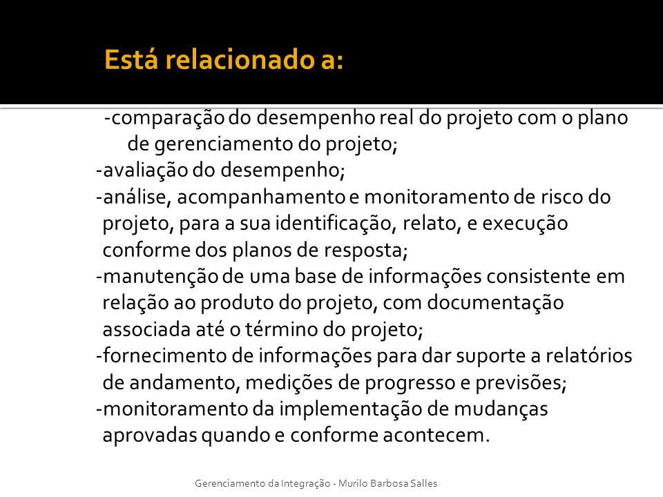 Está relacionado a: -comparação do desempenho real do projeto com o plano de gerenciamento do projeto; -avaliação do desempenho; -análise, acompanhame