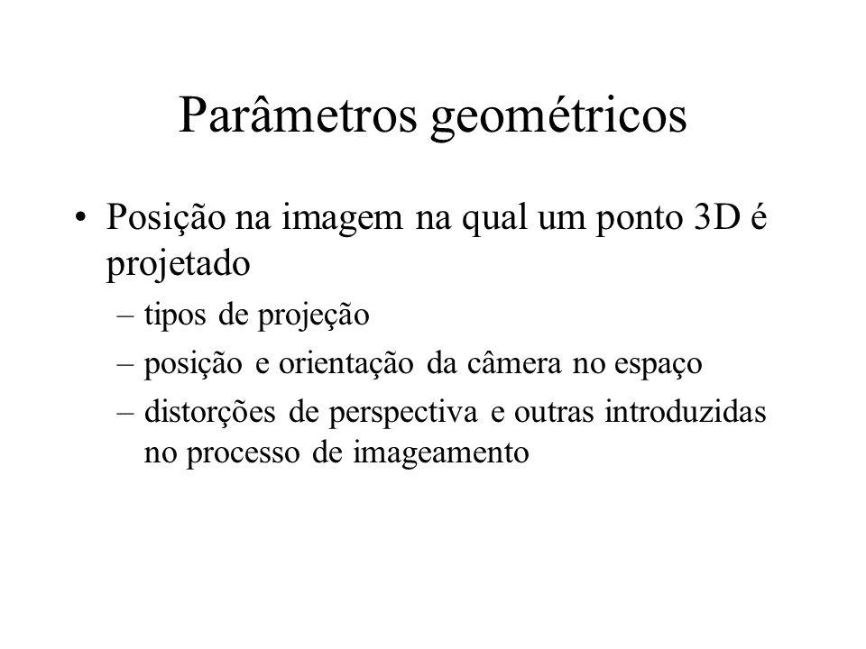 Parâmetros geométricos Posição na imagem na qual um ponto 3D é projetado –tipos de projeção –posição e orientação da câmera no espaço –distorções de perspectiva e outras introduzidas no processo de imageamento