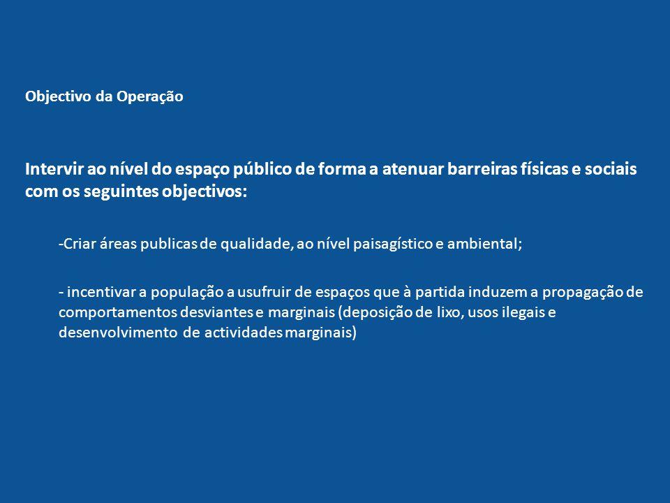 Intervir ao nível do espaço público de forma a atenuar barreiras físicas e sociais com os seguintes objectivos: -Criar áreas publicas de qualidade, ao