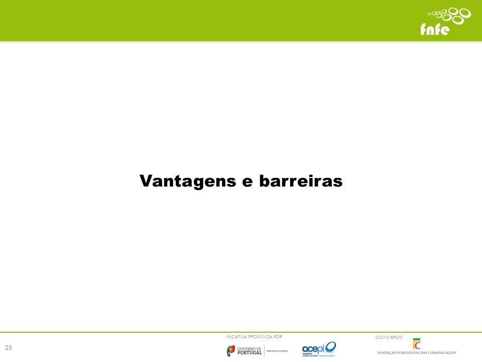 INICIATIVA PROMOVIDA POR COM O APOIO: Vantagens e barreiras 23