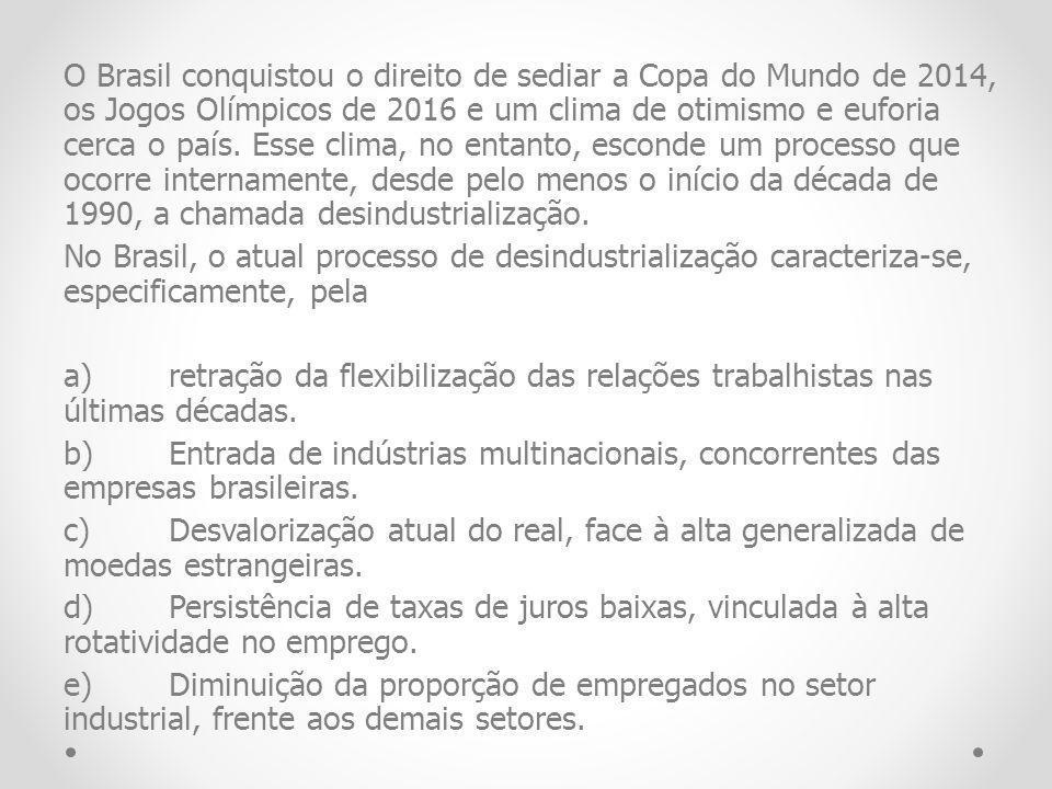 O Brasil conquistou o direito de sediar a Copa do Mundo de 2014, os Jogos Olímpicos de 2016 e um clima de otimismo e euforia cerca o país. Esse clima,