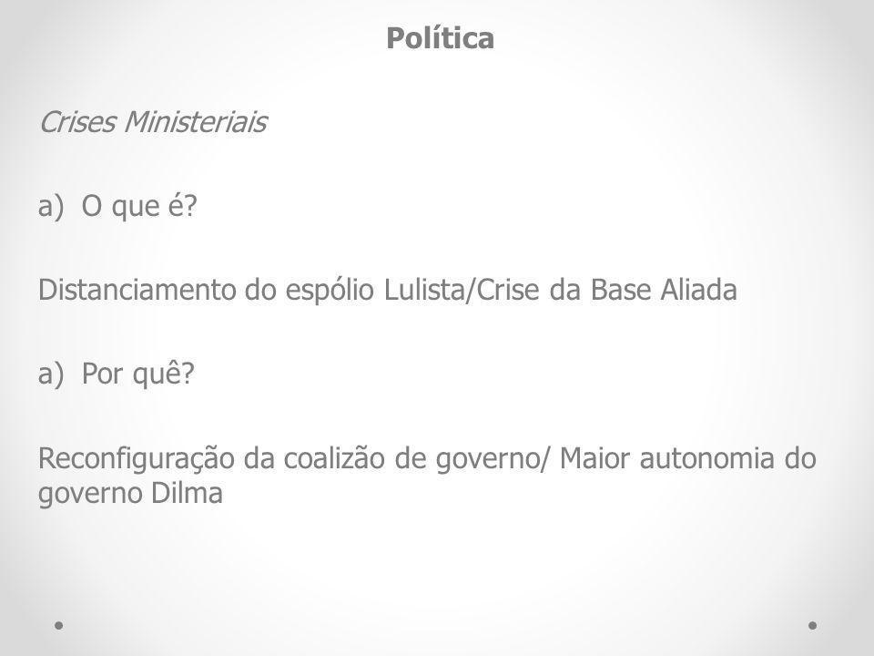 Política Crises Ministeriais a)O que é? Distanciamento do espólio Lulista/Crise da Base Aliada a)Por quê? Reconfiguração da coalizão de governo/ Maior