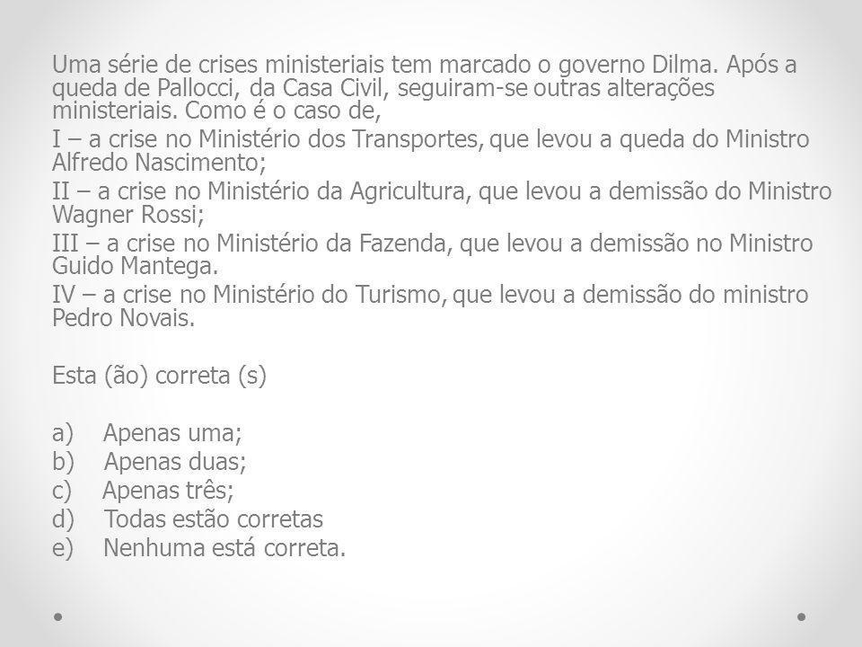 Uma série de crises ministeriais tem marcado o governo Dilma. Após a queda de Pallocci, da Casa Civil, seguiram-se outras alterações ministeriais. Com