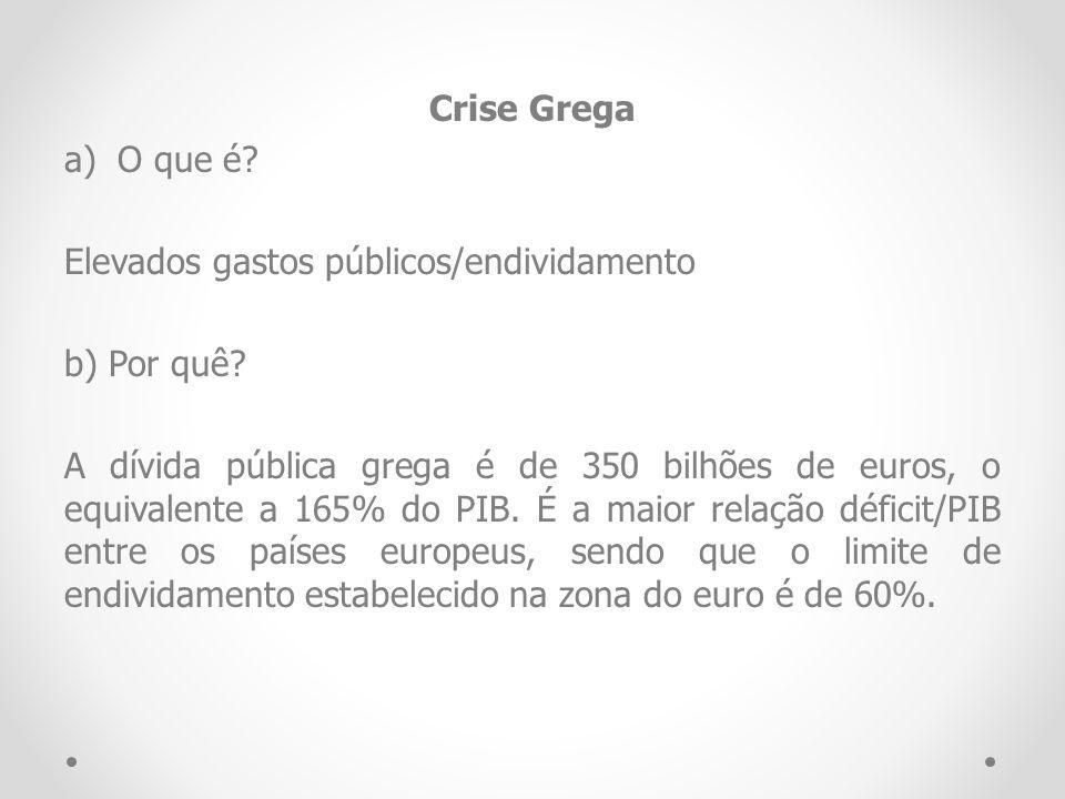 Crise Grega a)O que é? Elevados gastos públicos/endividamento b) Por quê? A dívida pública grega é de 350 bilhões de euros, o equivalente a 165% do PI