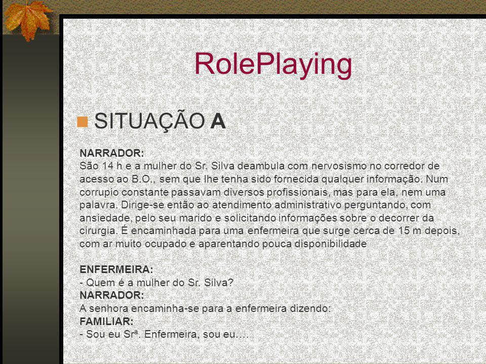 RolePlaying SITUAÇÃO A NARRADOR: São 14 h e a mulher do Sr. Silva deambula com nervosismo no corredor de acesso ao B.O., sem que lhe tenha sido fornec