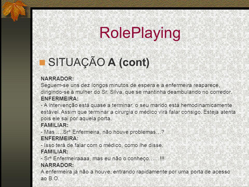 RolePlaying SITUAÇÃO A (cont) NARRADOR: Seguem-se uns dez longos minutos de espera e a enfermeira reaparece, dirigindo-se à mulher do Sr. Silva, que s