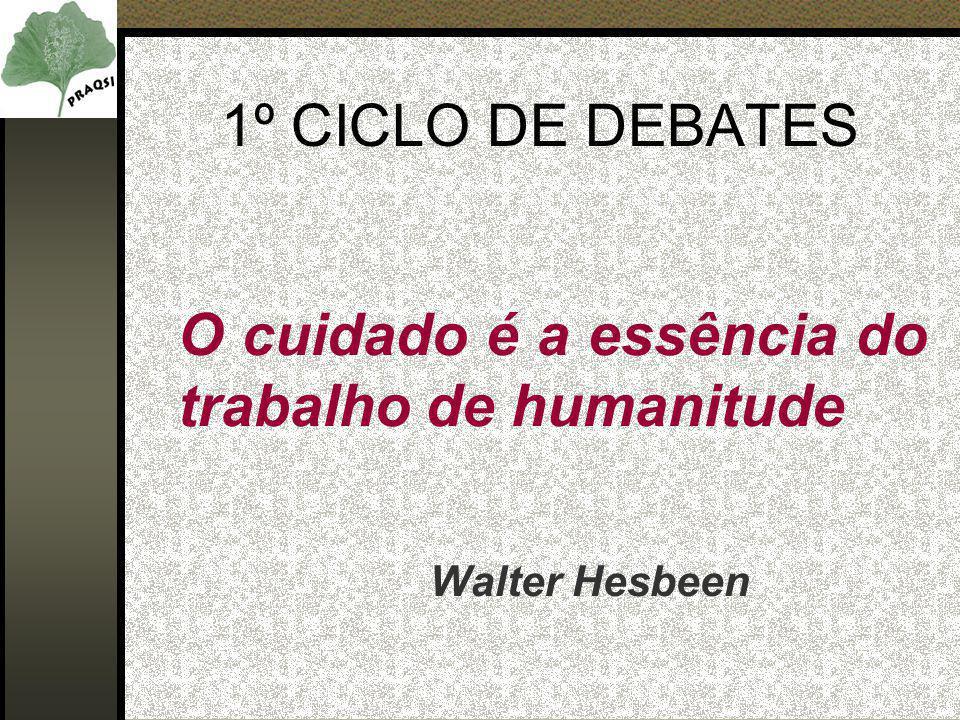 1º CICLO DE DEBATES O cuidado é a essência do trabalho de humanitude Walter Hesbeen