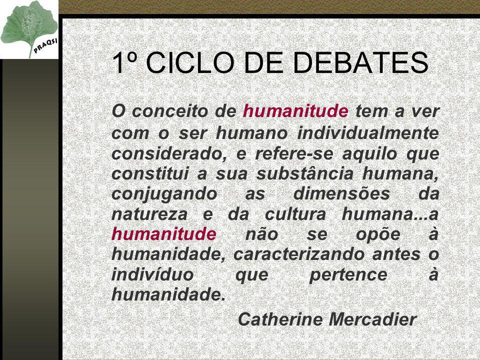 1º CICLO DE DEBATES O conceito de humanitude tem a ver com o ser humano individualmente considerado, e refere-se aquilo que constitui a sua substância