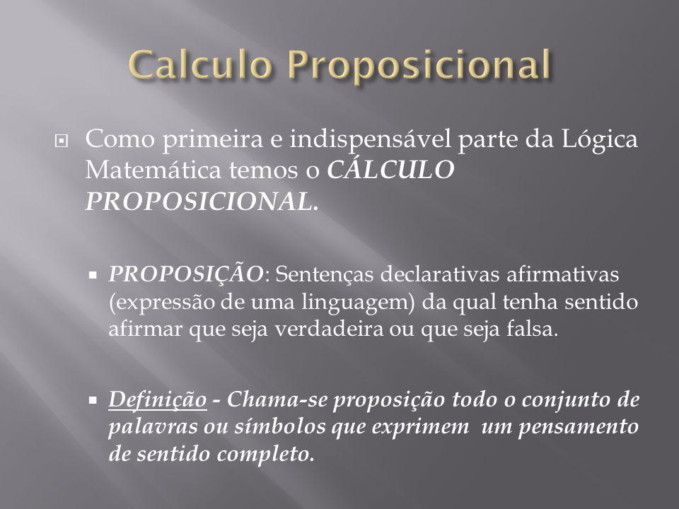 Como primeira e indispensável parte da Lógica Matemática temos o CÁLCULO PROPOSICIONAL.