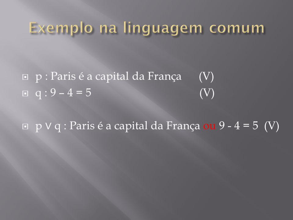 p : Paris é a capital da França (V) q : 9 – 4 = 5 (V) p q : Paris é a capital da França ou 9 - 4 = 5 (V)