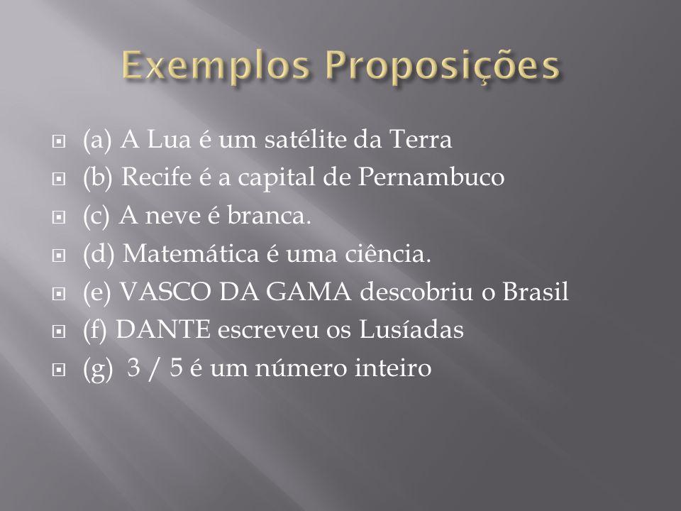 (a) A Lua é um satélite da Terra (b) Recife é a capital de Pernambuco (c) A neve é branca.