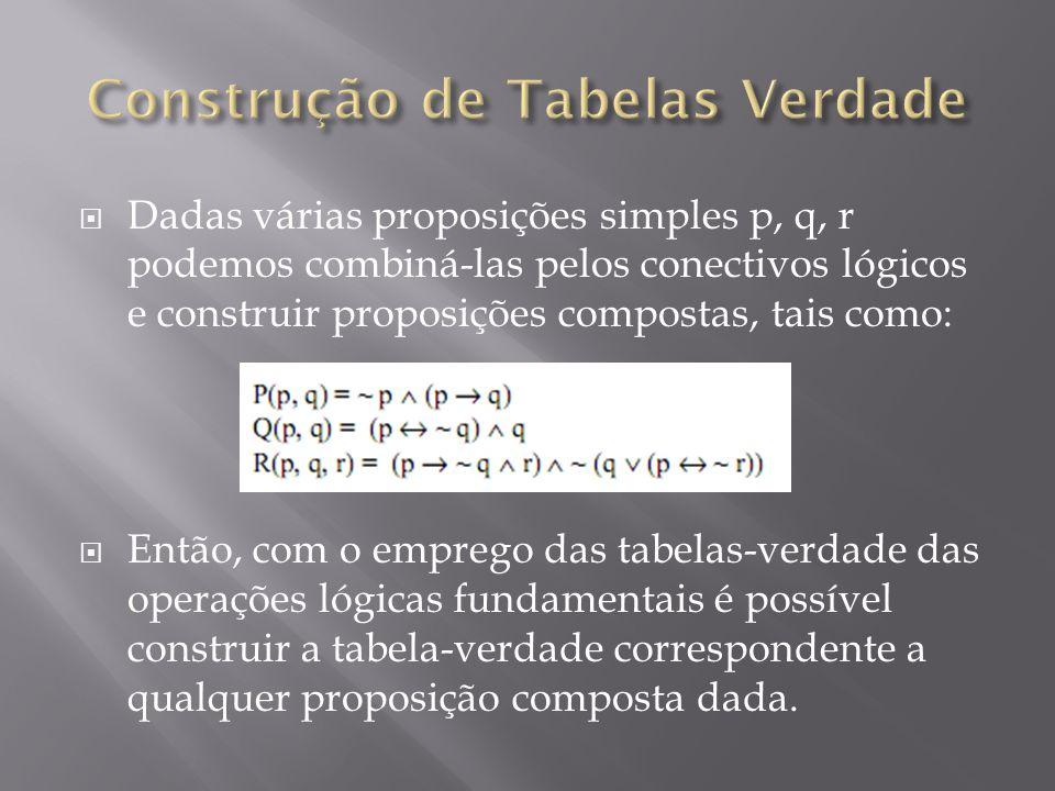 Dadas várias proposições simples p, q, r podemos combiná-las pelos conectivos lógicos e construir proposições compostas, tais como: Então, com o emprego das tabelas-verdade das operações lógicas fundamentais é possível construir a tabela-verdade correspondente a qualquer proposição composta dada.