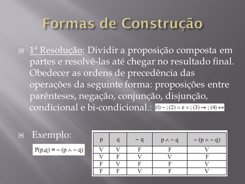 1ª Resolução: Dividir a proposição composta em partes e resolvê-las até chegar no resultado final.