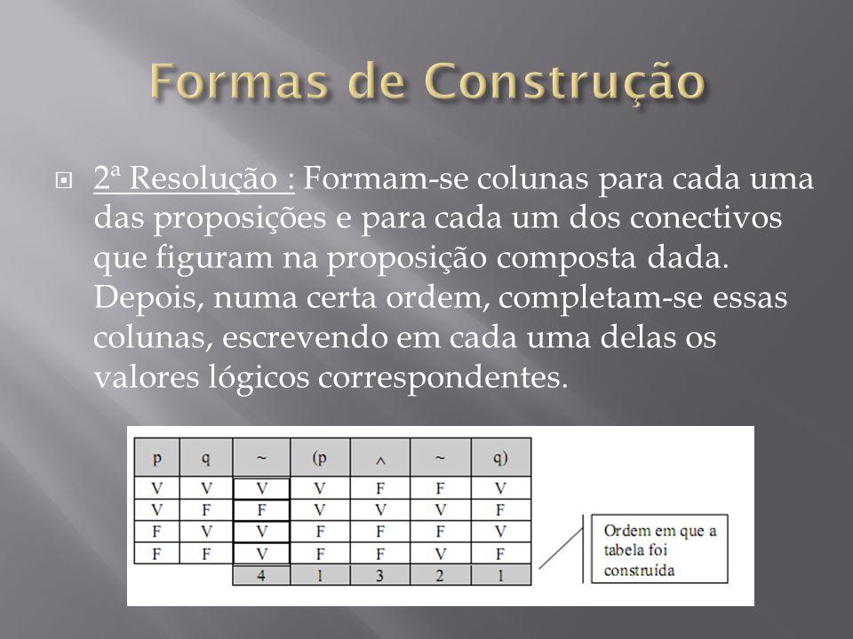 2ª Resolução : Formam-se colunas para cada uma das proposições e para cada um dos conectivos que figuram na proposição composta dada.