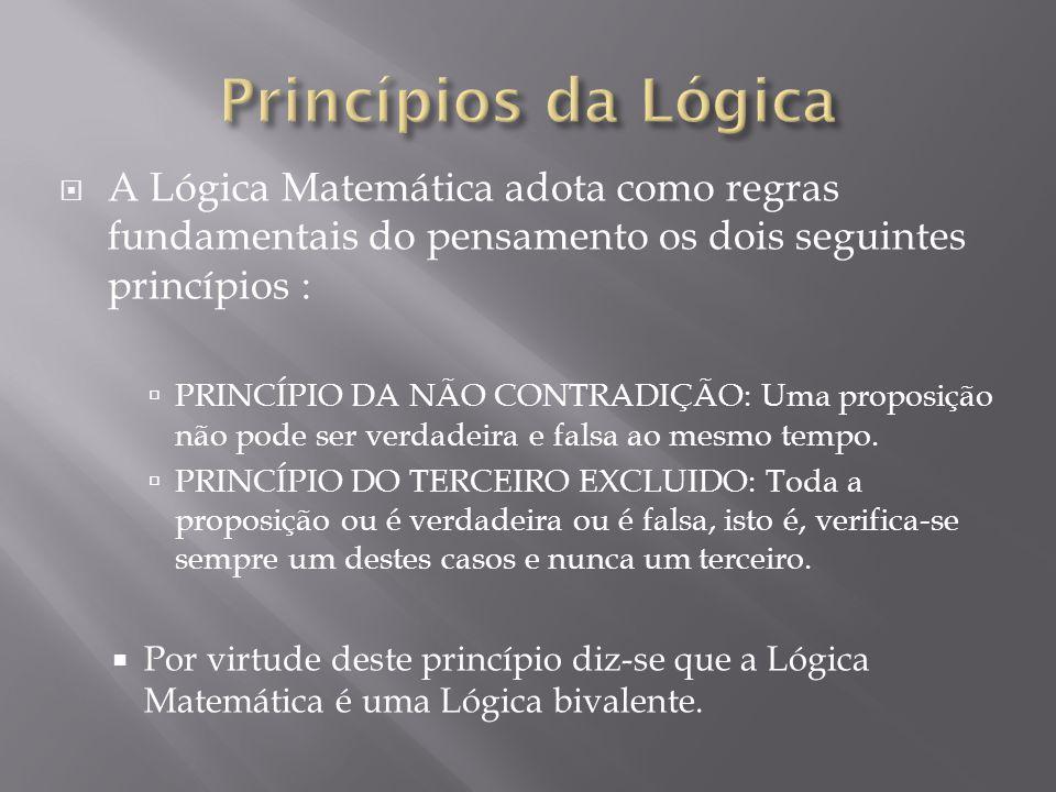 A Lógica Matemática adota como regras fundamentais do pensamento os dois seguintes princípios : PRINCÍPIO DA NÃO CONTRADIÇÃO: Uma proposição não pode ser verdadeira e falsa ao mesmo tempo.