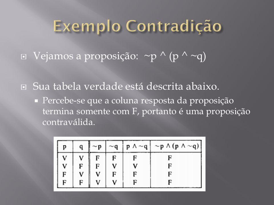 Vejamos a proposição: ~p ^ (p ^ ~q) Sua tabela verdade está descrita abaixo.