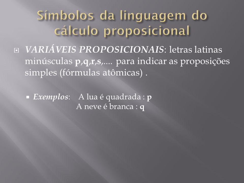 VARIÁVEIS PROPOSICIONAIS : letras latinas minúsculas p, q, r, s,....