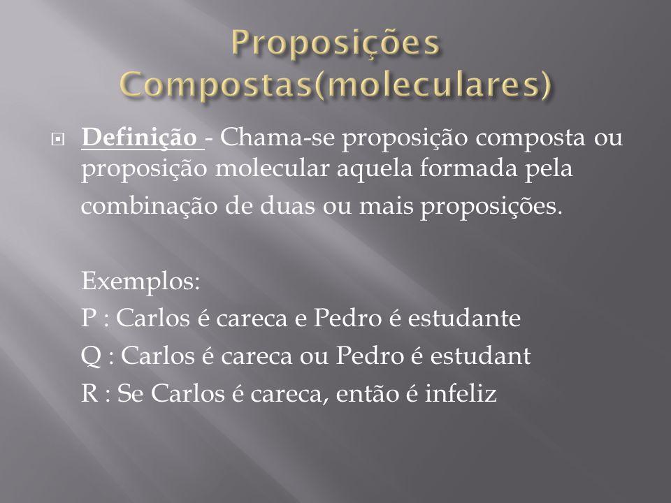 Definição - Chama-se proposição composta ou proposição molecular aquela formada pela combinação de duas ou mais proposições.