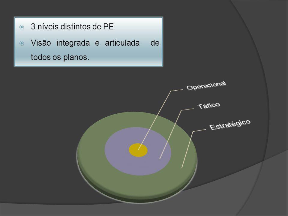 3 níveis distintos de PE Visão integrada e articulada de todos os planos.